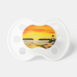 Radiant Golden Lighthouse Sunset - Dreamy Mirage Pacifier