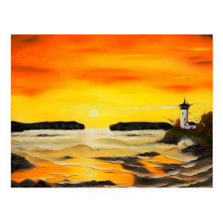 Radiant Golden Lighthouse Sunset - Dreamy Mirage Postcard
