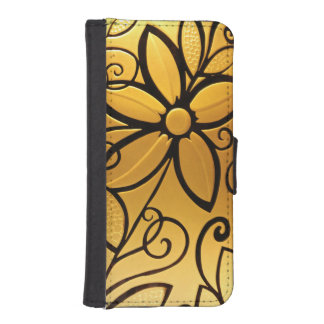 Radiant Golden Yellow Floral Design iPhone SE/5/5s Wallet Case