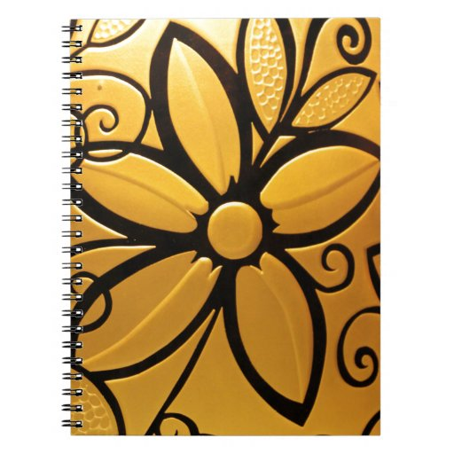 Radiant Golden Yellow Floral Design Spiral Notebook