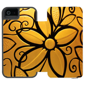 Radiant Golden Yellow Floral Design Wallet Case For iPhone SE/5/5s