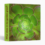 Radiant green succulent plant macro photography vinyl binder