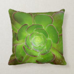 Radiant green succulent plant macro photography throw pillow