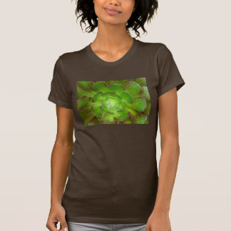 Radiant green succulent plant macro photography t shirts