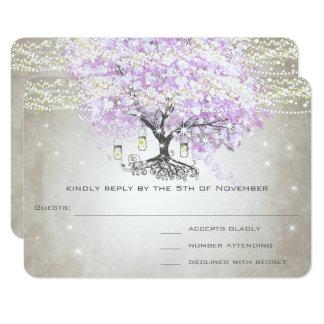 Radiant Lavender Heart Leaf Wedding RSVP Card