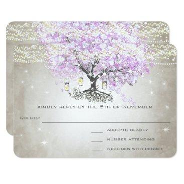Valentines Themed Radiant Lavender Heart Leaf Wedding RSVP Card