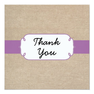Radiant Orchid and Beige Burlap Thank You Card