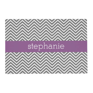 Radiant Orchid and Gray Chevrons Custom Name Placemat