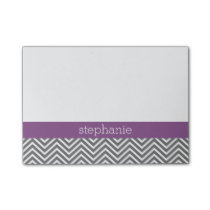 Radiant Orchid and Gray Chevrons Custom Name Post-it Notes