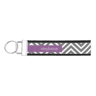 Radiant Orchid and Gray Chevrons Custom Name Wrist Keychain