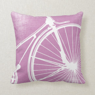 Radiant Orchid and White Bicycle Pillow