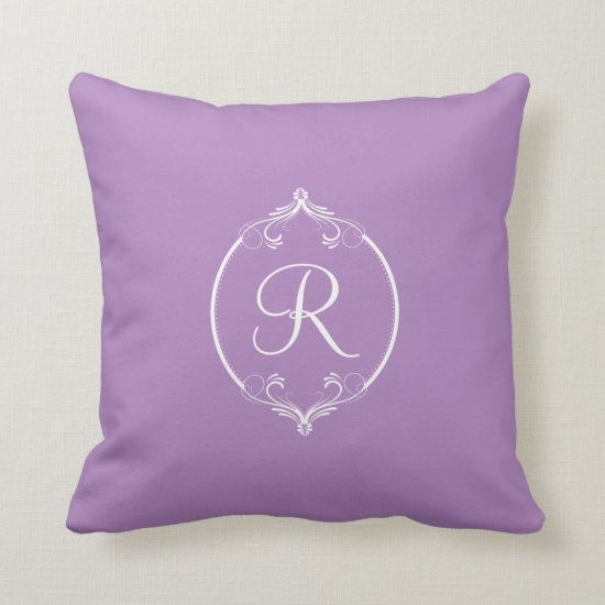 Radiant Orchid and White Ornate Monogram Throw Pillow