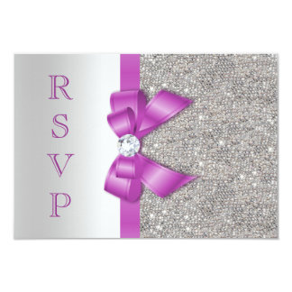 Radiant Orchid Bow & Diamonds RSVP 3.5x5 Paper Invitation Card