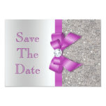 Radiant Orchid Bow & Diamonds Silver Save The Date Custom Invite