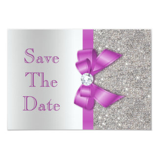 Radiant Orchid Bow & Diamonds Silver Save The Date 3.5x5 Paper Invitation Card