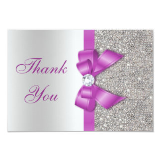 Radiant Orchid Bow & Diamonds Thank You 3.5x5 Paper Invitation Card