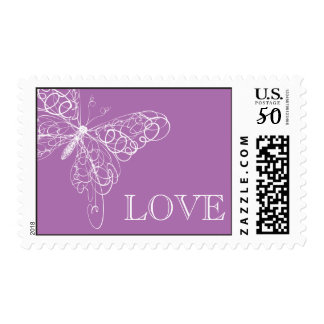 Radiant Orchid Butterfly LOVE Stamp