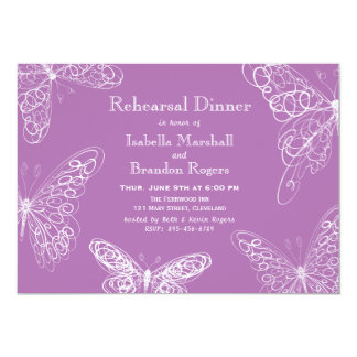 Radiant Orchid Butterfly Rehearsal Dinner Invite