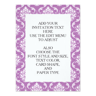 Radiant Orchid Classic Damask Pattern 6.5x8.75 Paper Invitation Card