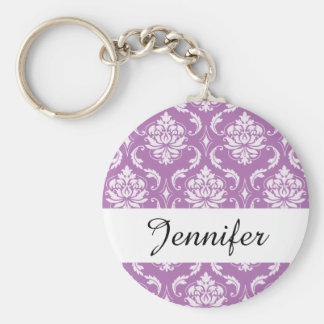 Radiant Orchid Classic Damask Pattern Basic Round Button Keychain
