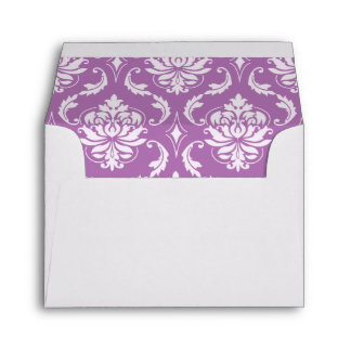 Radiant Orchid Classic Damask Pattern Envelope