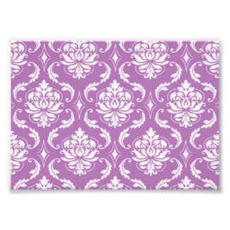 Radiant Orchid Classic Damask Pattern Photo Print