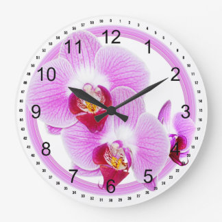 Radiant Orchid Closeup Photo with Circular Frame Large Clock