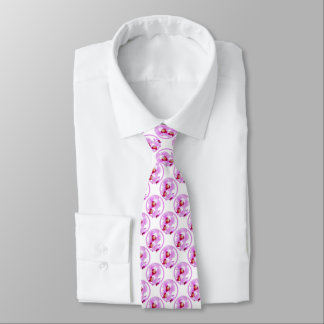 Radiant Orchid Closeup Photo with Circular Frame Neck Tie