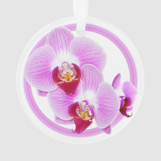 Radiant Orchid Closeup Photo with Circular Frame Ornament
