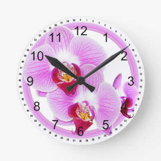 Radiant Orchid Closeup Photo with Circular Frame Round Clock
