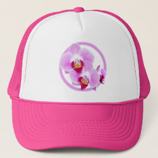Radiant Orchid Closeup Photo with Circular Frame Trucker Hat