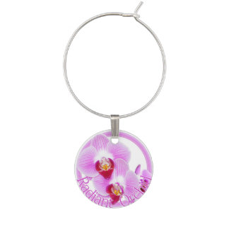Radiant Orchid Closeup Photo with Circular Frame Wine Glass Charm