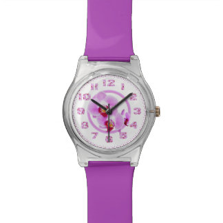 Radiant Orchid Closeup Photo with Circular Frame Wrist Watch