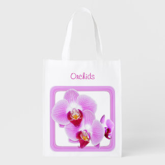 Radiant Orchid Closeup Photo with Square Frame 1 - Reusable Grocery Bag