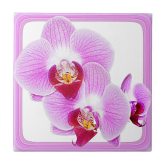 Radiant Orchid Closeup Photo with Square Frame Ceramic Tile