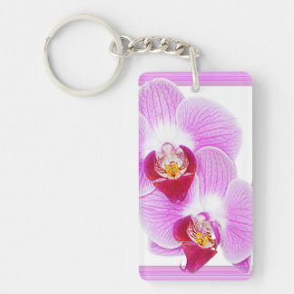 Radiant Orchid Closeup Photo with Square Frame Keychain