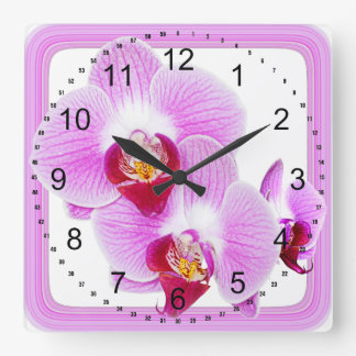 Radiant Orchid Closeup Photo with Square Frame Square Wall Clock