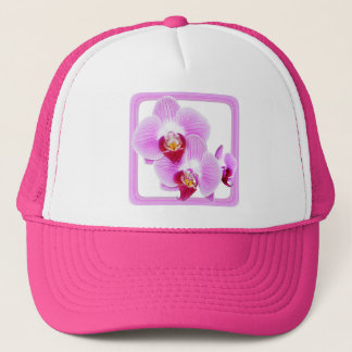Radiant Orchid Closeup Photo with Square Frame Trucker Hat