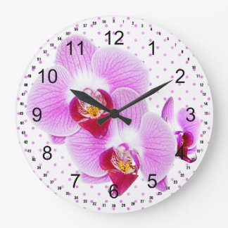 Radiant Orchid Closeup Photograph Large Clock