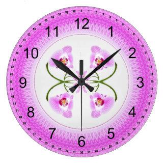 Radiant Orchid Closeup Square Kaleidoscope Pattern Large Clock