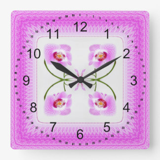 Radiant Orchid Closeup Square Kaleidoscope Pattern Square Wall Clock