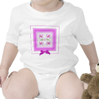 Radiant Orchid Closeup Square Kaleidoscope Pattern Baby Bodysuits