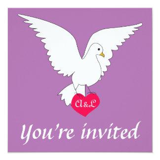 """Radiant Orchid Dove Wedding Invitation 5.25"""" Square Invitation Card"""