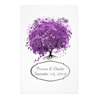 Radiant Orchid Heart Leaf Tree Wedding Stationery Paper