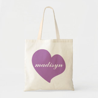 Radiant Orchid Heart Personalized Budget Tote Budget Tote Bag