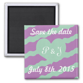 Radiant Orchid & Hemlock Green Save the Date 2 Inch Square Magnet