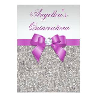 """Radiant Orchid Quinceañera Silver Sequins Bow 5"""" X 7"""" Invitation Card"""