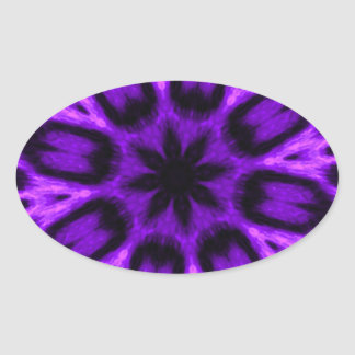 Radiant Orchid Spotted Leopard Kaleidoscope Oval Sticker