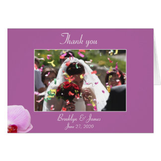 Radiant Orchid Wedding Thank You Card With Picture