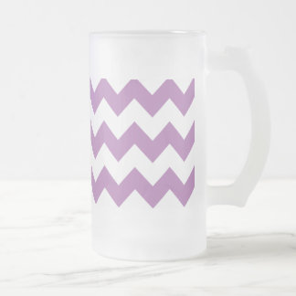 Radiant Orchid White Chevron Pattern Frosted Glass Beer Mug